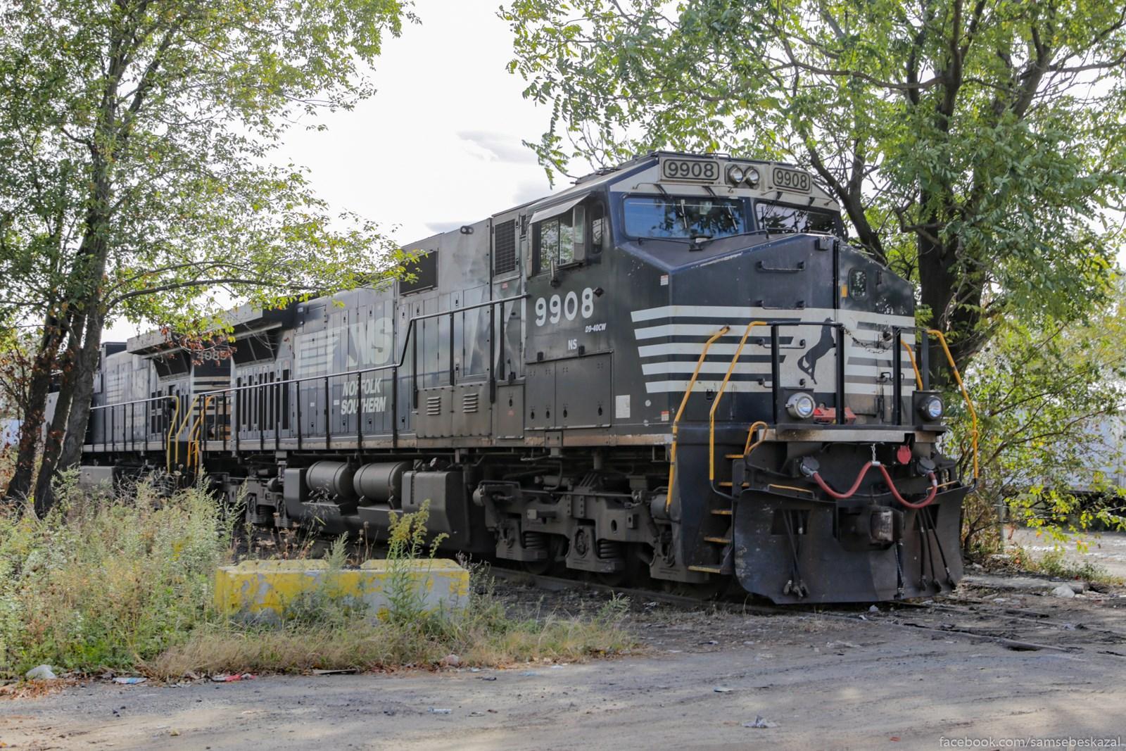 Spratalsa v kustah. Esli ne scitatʹ zeleznodoroznyh pereezdov i muzeev, to pervyj raz vizu tak blizko v Amerike lokomotiv.
